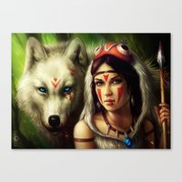 "princess mononoke Canvas Prints featuring ""Princess Mononoke"" by PeeGeeArts"