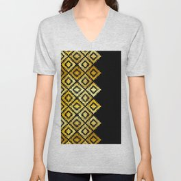 Turkish carpet gold black. Patchwork mosaic oriental kilim rug with traditional folk ornament Unisex V-Neck