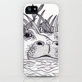 Black and White Hippo iPhone Case