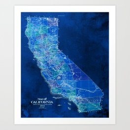 California, blue old vintage map, original art for office decor Art Print