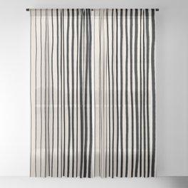 Black Vertical Lines Sheer Curtain