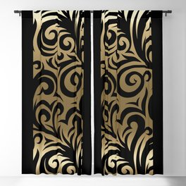 Gold and Black Swirl Pattern Blackout Curtain