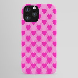 Zigzag of pink hearts staggered on a light background. iPhone Case