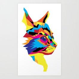Geomtric Colourful Kitten Digitally Created Art Print
