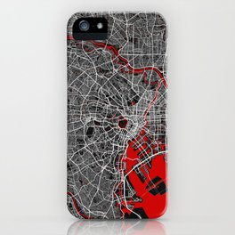 Tokyo City Map of Japan - Oriental Red iPhone Case