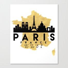 PARIS FRANCE SILHOUETTE SKYLINE MAP ART Canvas Print