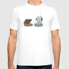 Little Robot  MEDIUM White Mens Fitted Tee