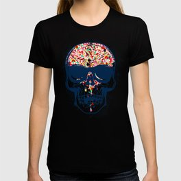 Dead Skull Zombie with Brain T-shirt
