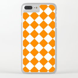 Large Diamonds - White and Orange Clear iPhone Case