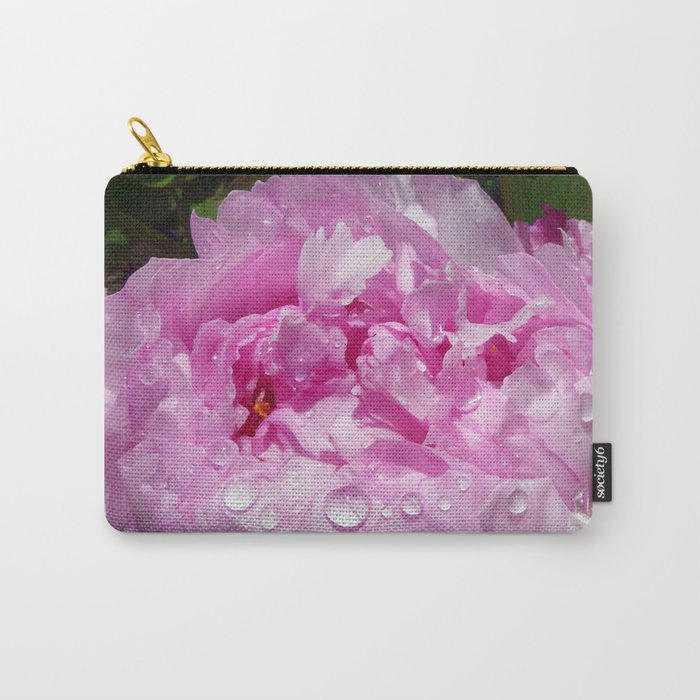 Pink Peony with Rain Drops Carry-All Pouch
