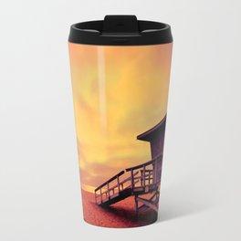 Lifeguard tower at sunset at Hermosa Beach, California Travel Mug