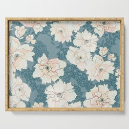 Teal and Peach Peony Floral Serving Tray