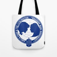 amy pond Tote Bags featuring Doctor Who pals: Matt Smith & Amy Pond by logoloco