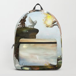 Wonderful fairy  on the rock Backpack