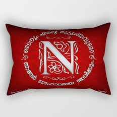Joshua 24:15 - (Silver on Red) Monogram N Rectangular Pillow