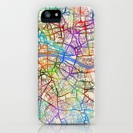 London England City Street Map iPhone Case