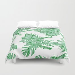 Palm Leaves and Hibiscus Tropical Green Duvet Cover