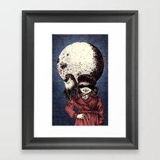 Posing on the moon Framed Art Print