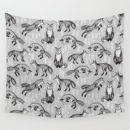 Fox pattern drawing foxes cute andrea lauren grey forest animals woodland nursery Wall Tapestry