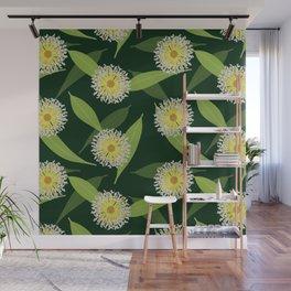 Australian Flora on Dark Green Wall Mural