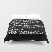 cigarettes Duvet Covers featuring Smoking In memory of my Father by pollylitical
