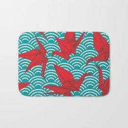 Origami red paper cranes sketch. burgundy maroon line Nature oriental Bath Mat