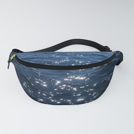 Sparkly Deep Blue Sea Waves Fanny Pack