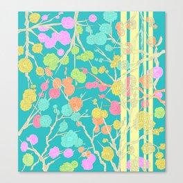 Bright Cherry Blossom Stripe Canvas Print