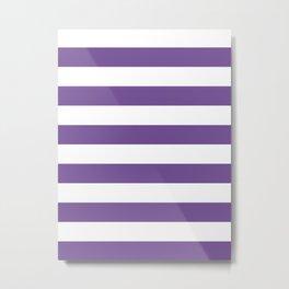 Horizontal Stripes - White and Dark Lavender Violet Metal Print