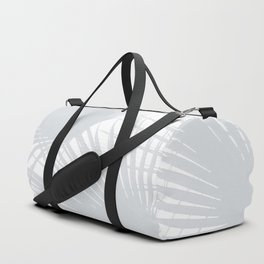 Pale Grey Tropical Leaves Duffle Bag