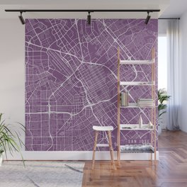 San Jose Map, USA - Purple Wall Mural