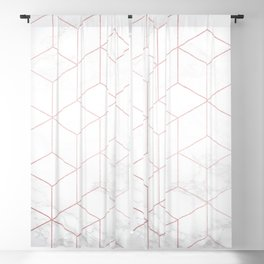 Rose Gold Geometric White Mable Cubes Blackout Curtain