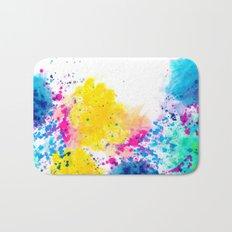 Blue Yellow Abstract Watercolor Neon Pink Splatter Bath Mat
