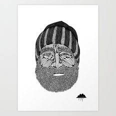 Bombastic Bearded Beanie Man Art Print