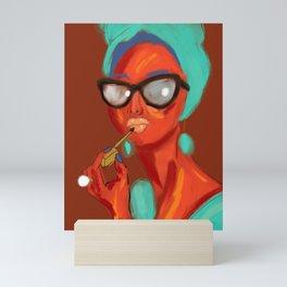 Lipstick Lady #OilPainting #ArtNouveauStyle Mini Art Print