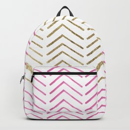 Pink faux gold watercolor tribal chevron pattern Backpack