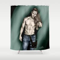 allison argent Shower Curtains featuring Argent Thigh Holster by xKxDx