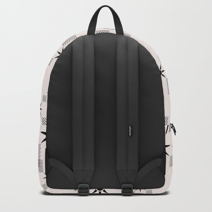 Abstract black pattern on a cream background Backpack