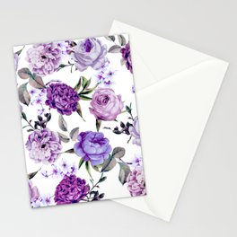 Elegant Girly Violet Lilac Purple Flowers Stationery Cards