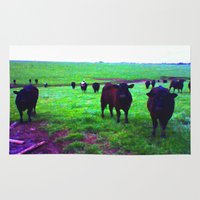 cows Area & Throw Rugs featuring Cows by 13th Moon Social Club