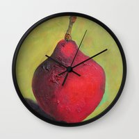 house stark Wall Clocks featuring Stark Crimson by Suzy Kitman Fine Art