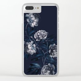 dark paeonias blue floral pattern Clear iPhone Case