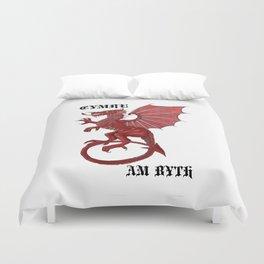 cymru am byth text Duvet Cover