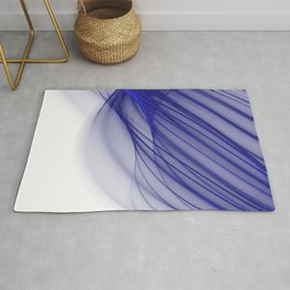 Abstract wave and curved lines illustration blue and white Rug