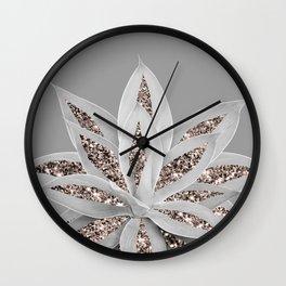 Gray Agave with Rose Gold Glitter #1 #shiny #tropical #decor #art #society6 Wall Clock