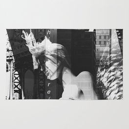 NYC Editorial Collage Black & White Rug