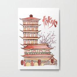 TOKYO - watercolor Metal Print