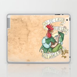 Alan-A-Dale Rooster : OO-De-Lally Golly What A Day Tattoo Watercolor Painting Laptop & iPad Skin