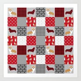 Corgi Patchwork Print - red, dog, buffalo plaid, plaid, mens corgi dog Art Print