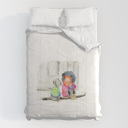 Girl and her dog   Watercolor illustration Comforters